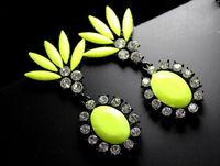 wholesale neon zircon stone gems earrings high fashion earrings jewelry 24 pair / lot FREE SHIPPING