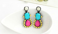 wholesale blue pink yellow stones latest fashion earrings 12 pair / lot FREE SHIPPING