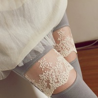 Free Shopping 1 pcs  summer han edition of the new embroidery lace lace/female knee open net leggings/nine minutes of pants