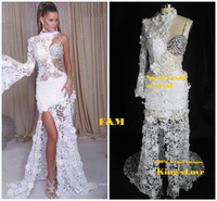 Sexy High Split Party Gown Evening Long Sleeve White Beading Lace Prom Dresses 2013