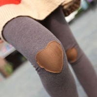 wholesale 6pcs new patch knee love pure bolls of heart-shaped female leisure high stretch bootcut /nine minutes of pants