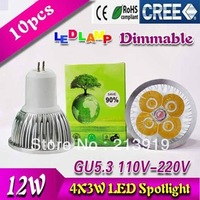 10pieces/lot 12W CE CREE GU5.3 mr16 High Power LED Lamp, AC85-265V,warm/cool white led spot lighting FREE SHIPPING