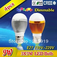 4x 9w LED bulb,Dimmable Bubble Ball Bulb Light AC85-265V E27 B22 E14 silver/gold shell color Good Quality freeshipping