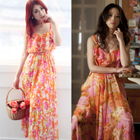 2013 chiffon one-piece dress fashion ruffle spaghetti strap beach dress bohemia long skirt