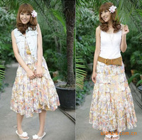 2013 asuka bohemia chiffon expansion bottom one-piece dress two ways dress beach dress full dress basic skirt