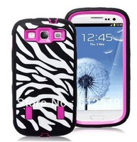 Rose Pink White Zebra Combo Hard Soft High Impact case for Samsung Galaxy s3 i9300