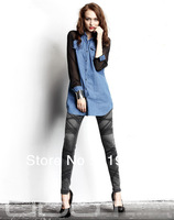 2013 Spring Chiffon Blouse New Woman Cowboy Chiffon Long Lrregular Long Sleeved Shirt Women's Shirt jeans tops