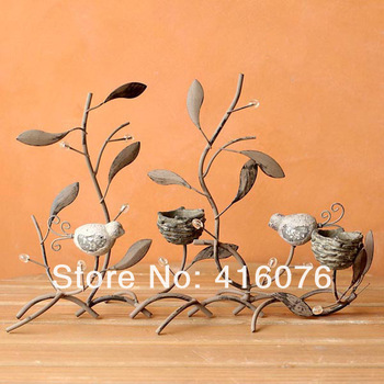 Lovely Birds Nest Metal Candelabra European Style Wedding Lantern Metal Candle Holder Metal