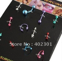 60pcs mix colors sytles Free Shipping body Jewelry Nose Ring labret banana bell Circular barbell Eyebrow Rings Piercing jewelry