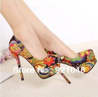 2014 red bottom high heels shoes woman flowers print single shoes new arrival platform shoes Free shipping
