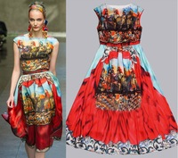 2013 Runway Fashion National Printing sicily Sleeveless Vintage T show Dress Boutique Dresses SS13068