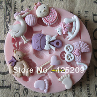 baby shower party fondant molds,silicone mold soap,candle moulds,sugar craft tools,chocolate moulds,bakeware