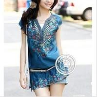 Free shipping Women's tops Bohemian ethnic style embroidered chiffon v-neck short sleeve dress Slim new [Buy 2pcs get a belt]