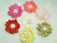 Wholesale - 2.4''The new Angle of 11 ribbon flower with Pearl diamond buckle ,baby hair accessories 24pcs/lot