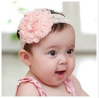 Fashion style! Free Shipping! 2013 new design baby headband 2Pcs fashion flower baby hair band girl head accessories pink color