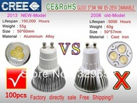 100PCS/LOT GU10 E27 E14 3X3W 9W 50W / 4X3W 12W 80W dimmable High power CREE Light LED Bulb Lamp Downlight