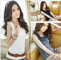 All-match lace decoration slim female short design spaghetti strap small vest basic shirt Women tank