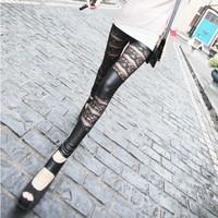 Free shipping 10pcs/lot Hot sale!!!New Fashion Sexy Spring Bud Silk Imitation Leather Stripes Double nine Points leggings