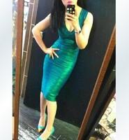 Hot Selling Top Quality Sexy Deep V-neck Foil Green /Golden Elastic Knitted Bandage Dress Slim Evening Formal Dresses H306