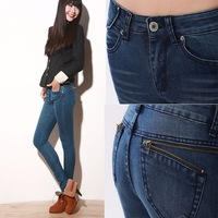 Mid waist zipper decoration mm denim pencil pants plus size pants 26 - 40