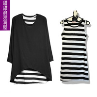 2013 spring women's r0518 casual sweet stripe basic skirt chiffon shirt twinset