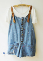 Denim shorts suspenders female 2012 summer denim bib pants shorts
