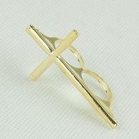 wholesale double fingers alloy cross ring fashion cross rings 24 PCS/LOT FREE SHIPPING
