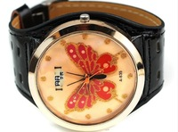 TWL211 Free shipping,Wholesale 5pcs 14% discount,Fashion Big Size Butterfly watches for women,lether strap,quartz,Brown leather