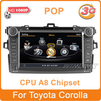 Free Shipping New S100 A8 Chipset CPU 1GHz 512MB Car DVD Player for Toyota Corolla With Radio GPS Bluetooth TV RDS 3G/wifi 1080P