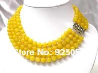 Charming! 4 Rows 8mm Yellow Jade Necklace AAAFashion jewelry