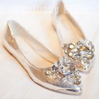2013 genuine leather rhinestone leuconostoc pointed toe flat bottom single shoes female wedding shoes flat heel shoes cute