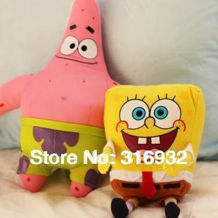 J1 Sponge bob toys 40cm plush Spongeboband 50cm  Patrick Star plush toy, 2pcs/lot FREE SHIPPING