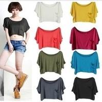 SALE Women clothing 2013 summer Crop tops women fashion sexy tops & tees Women t shirts cotton woman sport casual t-shirt