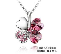Austria crystal four leaf clover necklace female pendant romantic gift 18 birthday gift