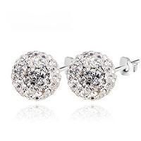 Bling silver stud earring 925 pure silver female rhinestone silver earrings ball