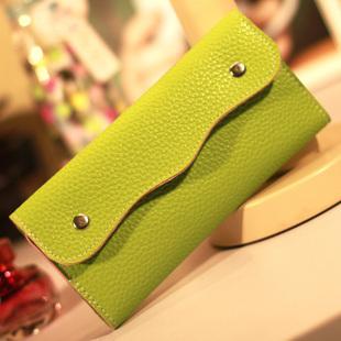 Kissme women's snap button long design Women wallet coin purse card holder chromophous women's handbag germanium