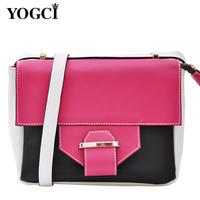 Yogci 2013 women's spring handbag candy color cowhide messenger bag small bag shoulder bag color block bags