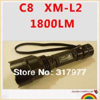 UltraFire C8 L2 XM-L2 U3 1800LM CREE XM-L2 LED Flashlight Free Shipping