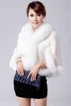 New winter fox fur collar Rabbit fur coat jacket wool waistcoat cape   fake fur