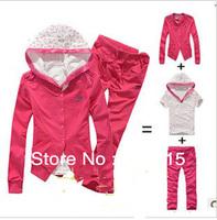 free shipping 2013 new women's sportswear hooded sweater, long-sleeved leisure sports suit three-piece