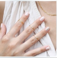Free Shipping Hot Copper Polished Thin Shiny Rings,Lady Midi Knuckle ring,Fashion Brief Fine Finger Ring,24pcs/lot