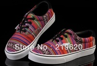 Online Shop Newest Women's Gorgeous Sneakers 2013 Fashion Casual Striped Canvas Shoes Sale wholesale,Free ship,drop ship