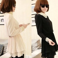 New Women's Wild Long-sleeved Chiffon Pearl Collar Pleated Waist Dress Special Collar and Sleeves Hot Products
