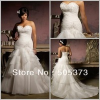 New Elegant Gown Mermaid Pleats/Appliques Zip Up/Lace Up Organza Plus Size Wedding Formal Gowns Custom Size Free Shipping