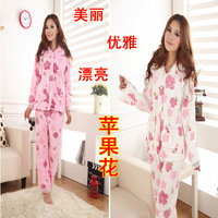 Autumn and winter thickening women's sleepwear coral fleece sleepwear female sleep set lounge