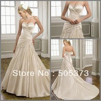 Delightful New Perfect A Line Wedding Dress Beading Applique Sweetheart Satin Bridal Gown Custom Size Free Shipping