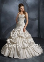 Delightful New Perfect A Line Wedding Dress Beading Applique Sweetheart Taffeta Bridal Gown Custom Size Free Shipping