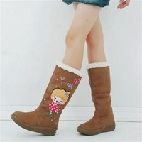 2012 cartoon winter boots platform boots snow boots flat medium-leg two ways female shoes