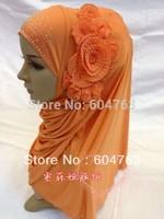 JN014 ONLY BLACK Fashion NEW flower arabic hejab ONE PIECE LONG muslim HIJAB