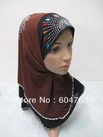 JN016 Fashion NEW flower arabic hejab ONE PIECE LONG muslim HIJAB